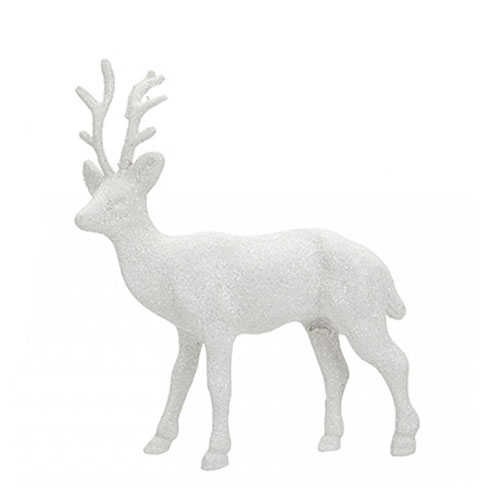 White Glitter Reindeer Christmas Decoration 17cm Product Image