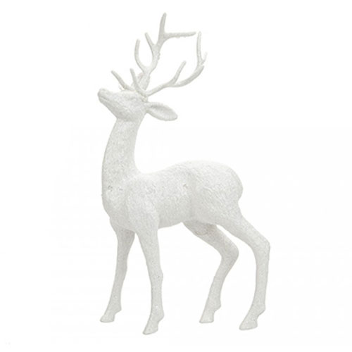 White Glitter Reindeer Christmas Decoration 26cm Product Image