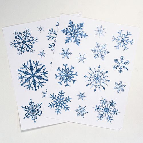 Assorted Christmas Blue Glittered Snowflake Window Stickers Sheet Decoration