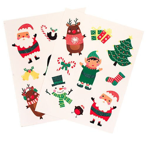 Assorted Christmas Characters Window Stickers Sheet Decoration