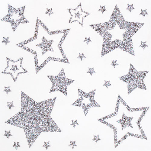 Assorted Christmas Glittered Star Window Stickers Sheet Decoration Product Image
