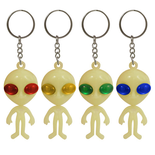 Assorted Glow In The Dark Alien Key Ring Party Favour 11cm