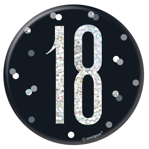 Black Glitz Age 18 Holographic Birthday Badge 7cm
