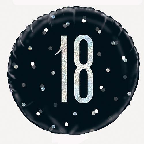 Black Glitz Age 18 Holographic Round Foil Helium Balloon 46cm / 18 in