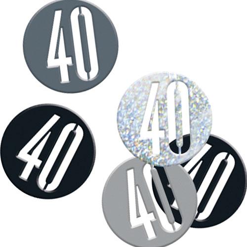 Black Glitz Age 40 Holographic Assorted Table Confetti 14 Grams