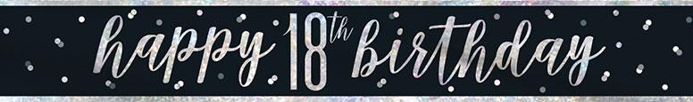Black Glitz Happy 18th Birthday Holographic Foil Banner 274cm