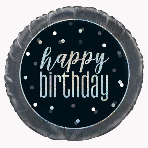 Black Glitz Happy Birthday Holographic Round Foil Helium Balloon 46cm / 18 in