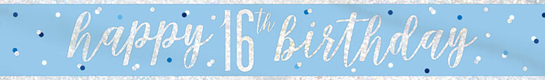 Blue Glitz Happy 16th Birthday Holographic Foil Banner 274cm