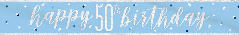 Blue Glitz Happy 50th Birthday Holographic Foil Banner 274cm