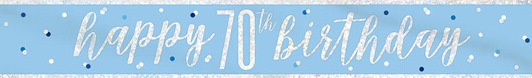 Blue Glitz Happy 70th Birthday Holographic Foil Banner 274cm