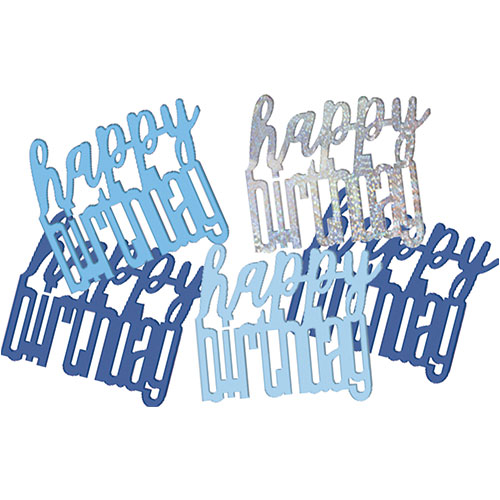 Blue Glitz Happy Birthday Holographic Assorted Table Confetti 14 Grams