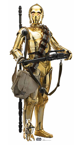 C-3PO Star Wars The Rise of Skywalker Lifesize Cardboard Cutout 176cm Product Gallery Image