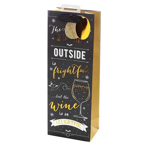 Chalkboard Premium Christmas Bottle Gift Bag 35cm