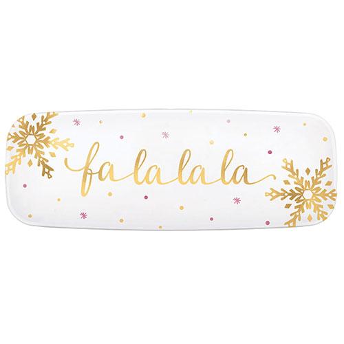 Christmas Fa La La La Plastic Hot Stamped White Rectangular Platters 45cm
