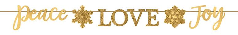 Christmas Peace Love Joy Gold Foil Glitter Cardboard Letter Banner 365cm