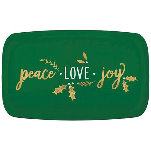Christmas Peace Love Joy Plastic Hot Stamped Green Rectangular Platter 46cm