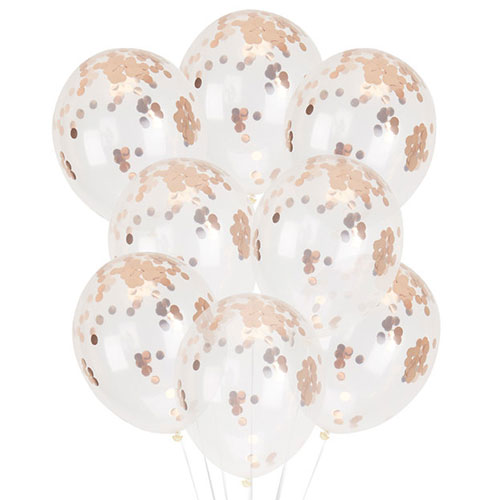 Clear Biodegradable Latex Balloons With Rose Gold Foil Confetti - Pack of 8