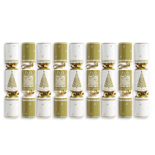 Cream & Gold Cube Christmas Crackers – Pack of 9 Product Image