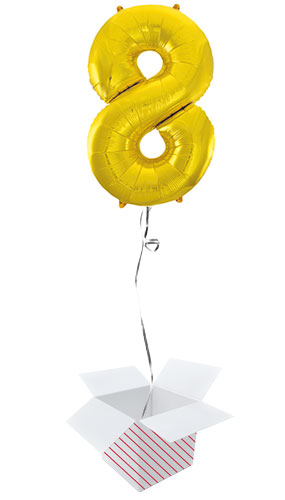 Gold Number 8 Helium Foil Giant Balloon - Inflated Balloon in a Box Product Image