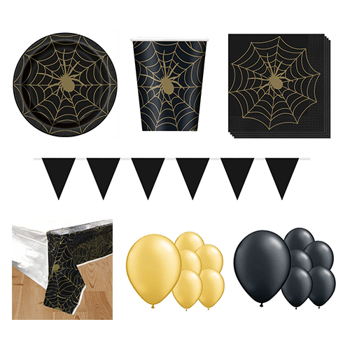 Gold Spider Web 16 Person Deluxe Party Pack