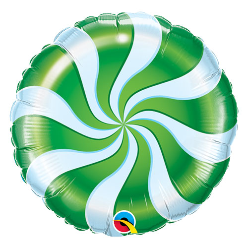 Green Candy Swirl Christmas Round Foil Helium Qualatex Balloon 46cm / 18 in