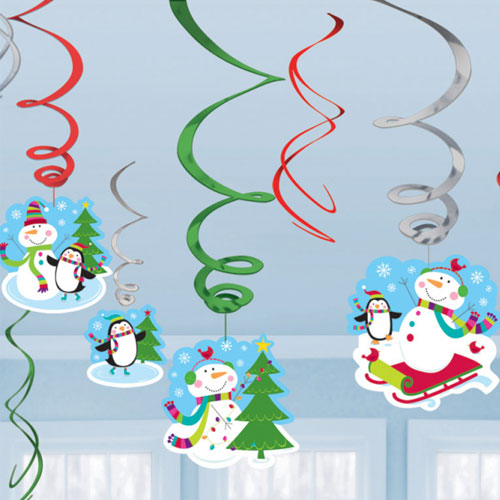 Joyful Snowman Christmas Hanging Swirl Decorations - Pack of 12
