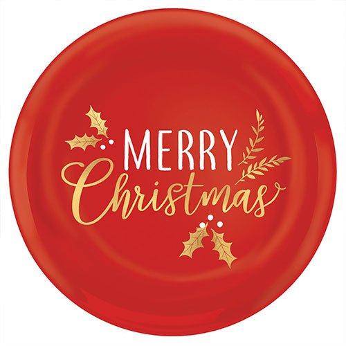 Merry Christmas Plastic Hot Stamped Red Round Platter 35cm