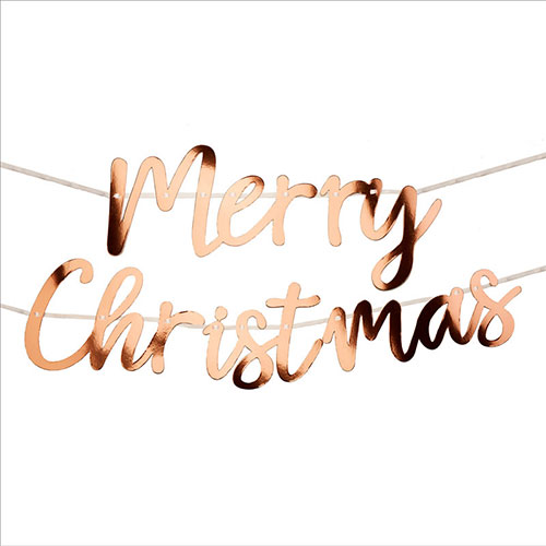 Merry Christmas Script Foil Rose Gold Bunting 2m