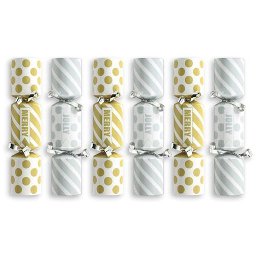 Mini Silver & Gold Christmas Crackers - Pack of 6