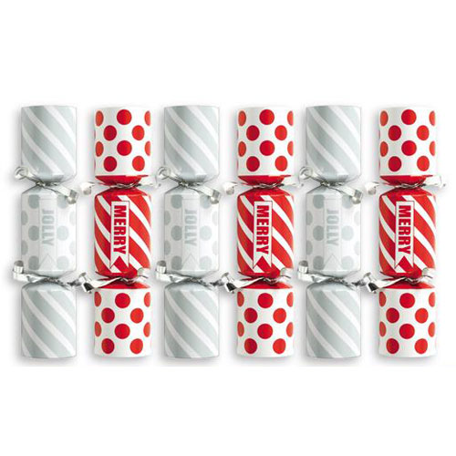 Mini Silver & Red Christmas Crackers - Pack of 6