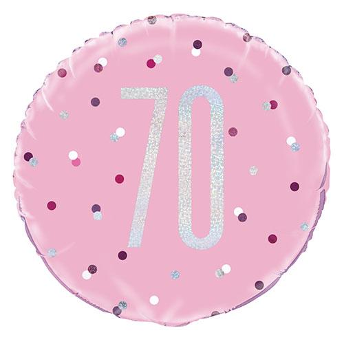 Pink Glitz Age 70 Holographic Round Foil Helium Balloon 46cm / 18 in