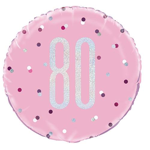 Pink Glitz Age 80 Holographic Round Foil Helium Balloon 46cm / 18 in
