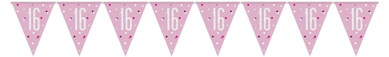 Pink Glitz Age 16 Holographic Foil Pennant Bunting 274cm