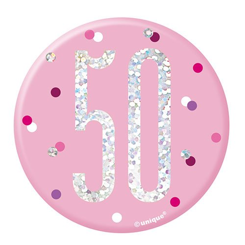 Pink Glitz Age 50 Holographic Birthday Badge 7cm Product Image