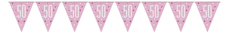 Pink Glitz Age 50 Holographic Foil Pennant Bunting 274cm