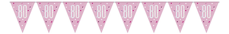Pink Glitz Age 80 Holographic Foil Pennant Bunting 274cm