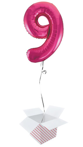 Pink Number 9 Helium Foil Giant Balloon - Inflated Balloon in a Box Product Image