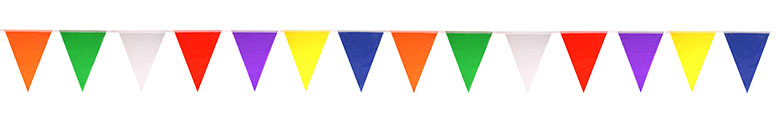 Rainbow Multi-Colour Nylon Flag Bunting 7m