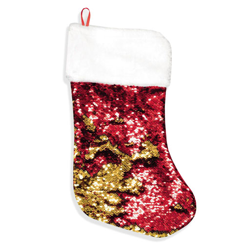 Deluxe Reverse Red & Gold Sequin Christmas Stocking 43cm
