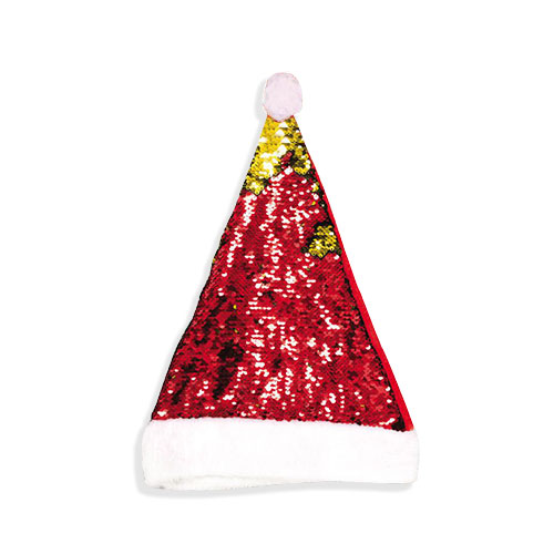 Deluxe Reversible Gold & Red Sequin Christmas Hat
