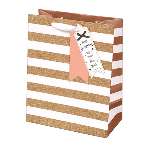 Rose Gold Glitter Stripes Christmas Large Gift Bag 33cm