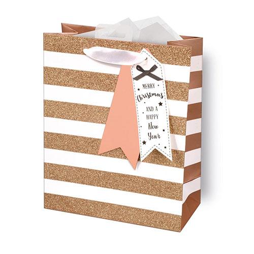 Rose Gold Glitter Stripes Christmas Medium Gift Bag 26cm