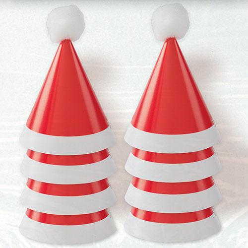Christmas Mini Pom Pom Santa Cone Hats - Pack of 8