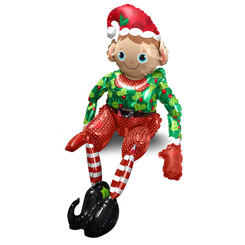 Sitting Elf Air Fill Christmas Foil Balloon 73cm