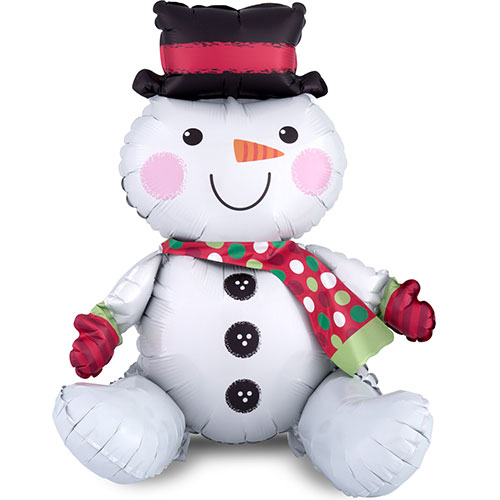 Sitting Snowman Air Fill Christmas Foil Balloon 53cm
