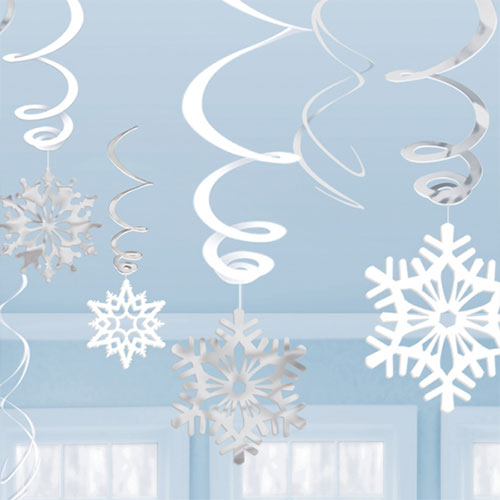 Snowflakes Christmas Hanging Swirl Decorations - Pack of 12