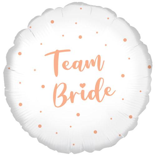 Team Bride Rose Gold Dots Round Foil Helium Balloon 46cm / 18 in