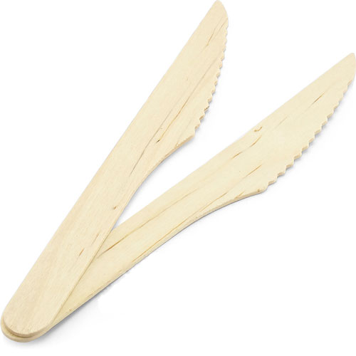 Biodegradable Compostable Wooden Cutlery Knives 16cm - Pack of 100