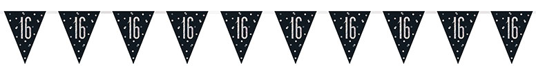 Black Glitz Age 16 Holographic Foil Pennant Bunting 274cm