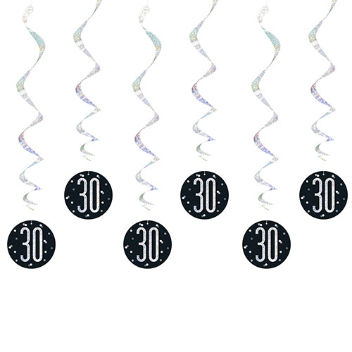 Black Glitz Age 30 Holographic Hanging Swirl Decorations - Pack of 6
